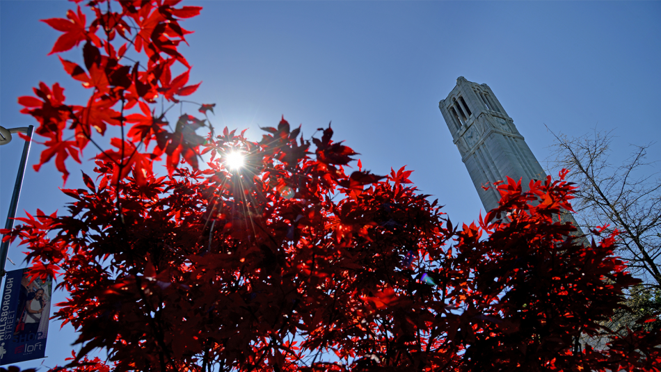 The Memorial Bell Tower located on NC State's North Campus.