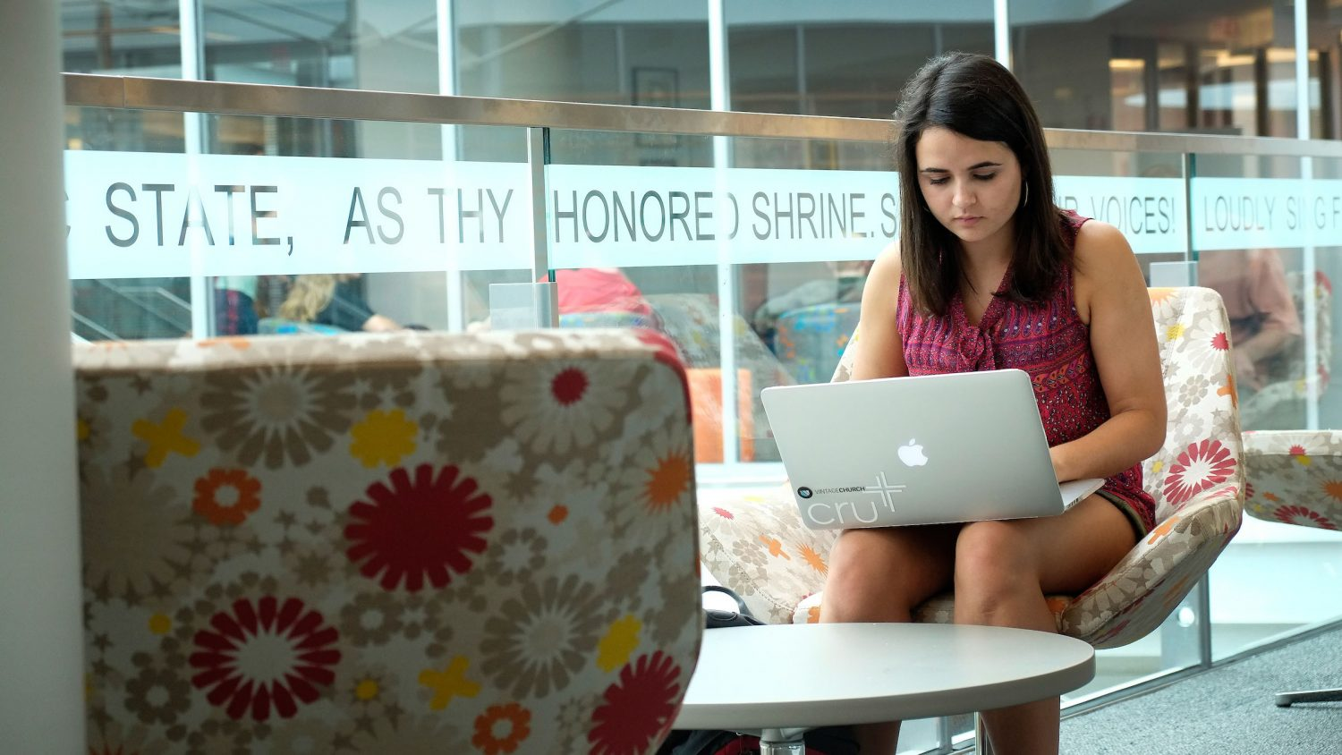 A student uses her laptop at the Talley Student Union.