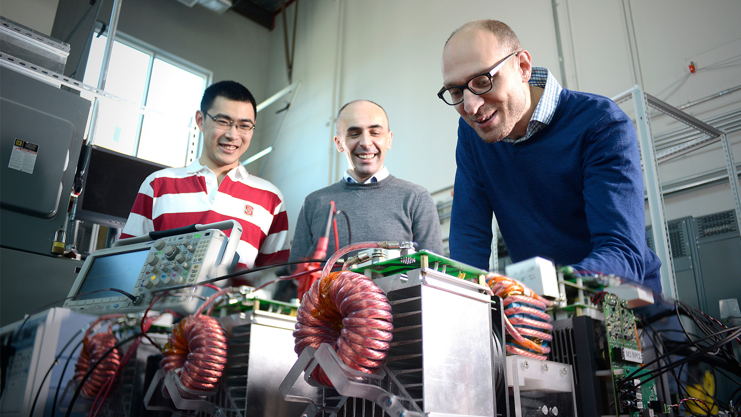 NC State researchers working on a power grid.