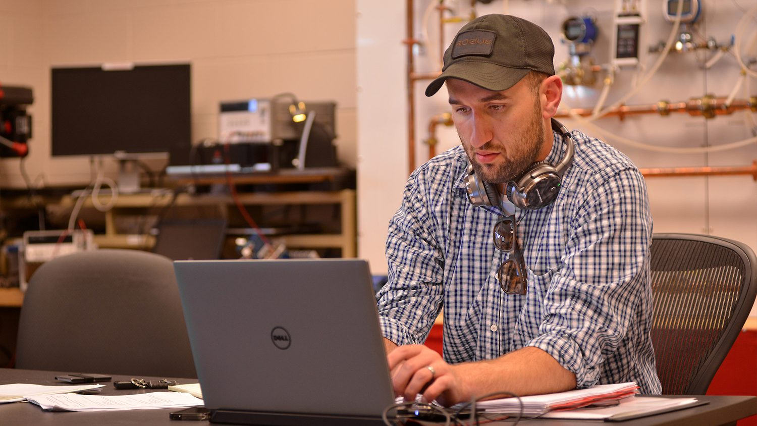 College of Engineering student works on an assignment at the Havelock campus.