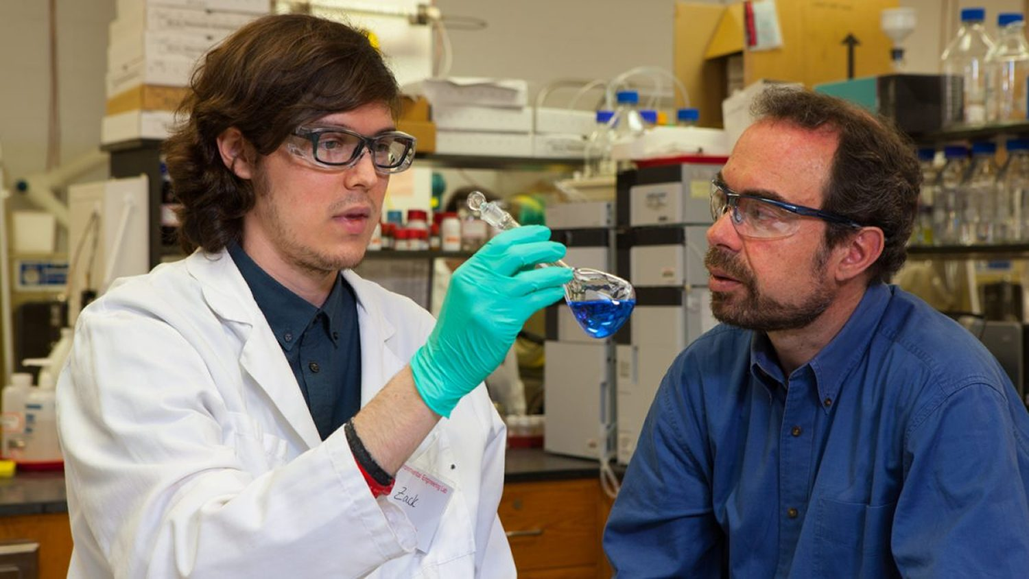 Graduate student Zachary Hopkins, left, and Dr. Detlef Knappe work together in the environmental lab at the Department of Civil, Construction, and Environmental Engineering