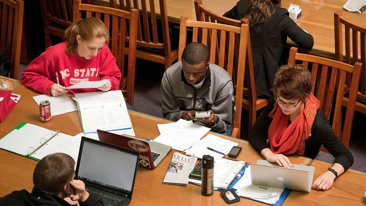 Students work on group project in D.H. Hill Library