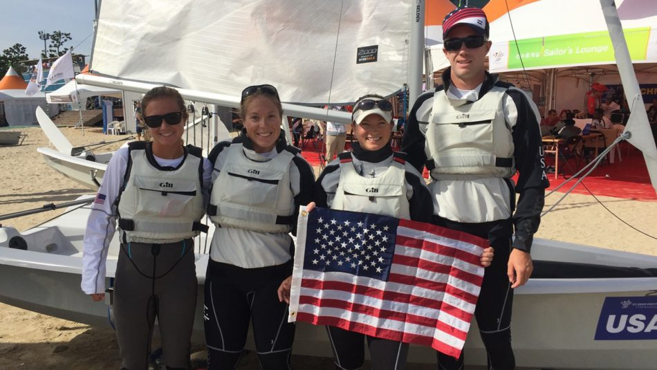NC State Engineering Online student Mary Hesler with the U.S. sailing team at the Military World Games.